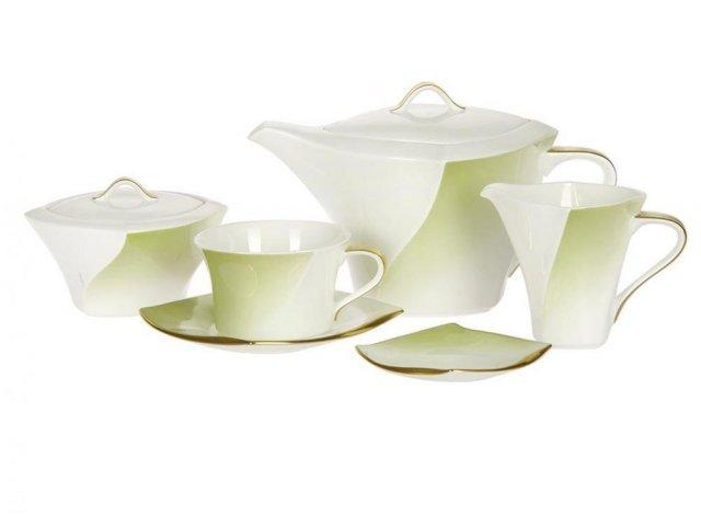 Сервиз чайный Narumi Дюк оливковый на 6 персон 17 предметов