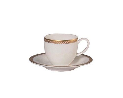 Набор 6 кофейных пар 100мл Золотая вышивка Royal Bone China