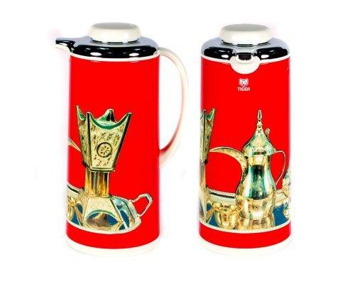 Термос металлический 1.3л. со стеклянной колбой Арабские мотивы красный Tiger