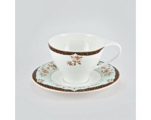 Набор 6 кофейных пар Зеленый сад Royal Bone China 100мл