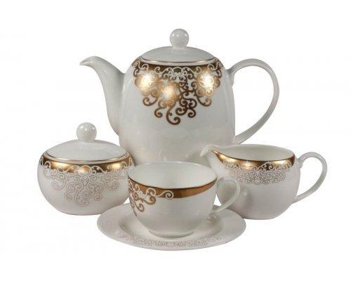 Сервиз чайный Золото Востока Касбах Royal Bone China на 6 персон 17 предметов