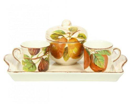 Набор кофейный Фрукты Сестеси (Sestesi) 2 чашки 120мл и сахарница на керамическом подносе 28*17