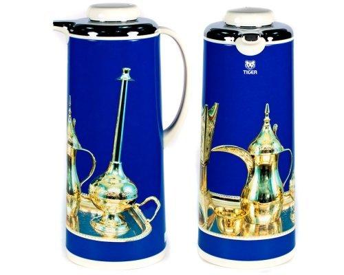 Термос металлический 1.6л. со стеклянной колбой Арабские мотивы голубой Tiger