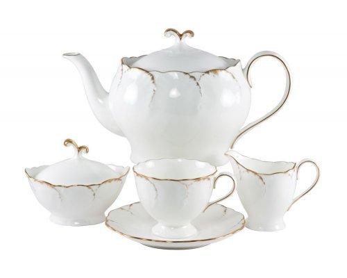 Сервиз чайный Narumi Белый с золотом на 6 персон 17 предметов