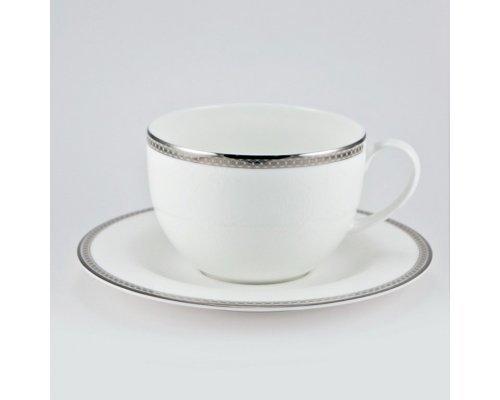 Чашка 270мл с блюдцем 16см Серебряная вышивка Royal Bone China