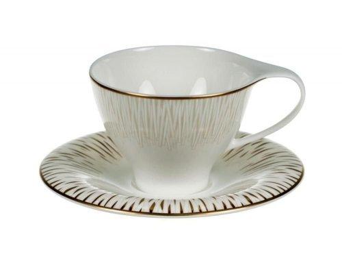 Набор 6 чайных пар Royal Bone China Голден Глоу 210мл