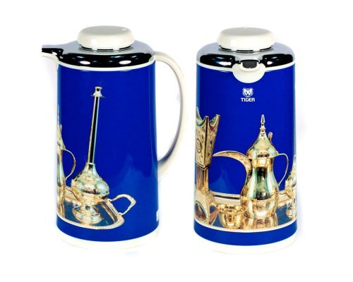 Термос металлический 1л. со стеклянной колбой Арабские мотивы голубой Tiger