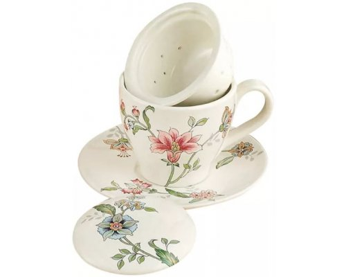 Чашка с блюдцем с керамическим ситечком и крышкой 13см Прованс Nuova Ceramica s.n.c.