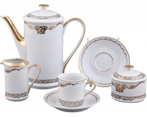 Сервиз мокко кофейный Rudolf Kampf Роза и Ленты 2274 на 6 персон 15 предметов в подарочном коробе