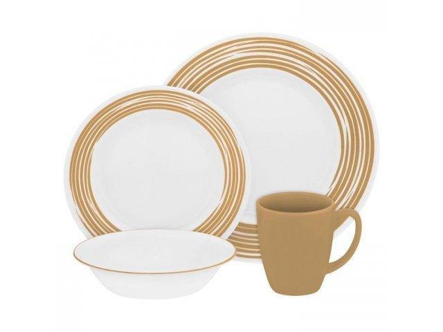 Набор посуды столовый сервиз Corelle Brushed Sand на 4 персоны 16 предметов