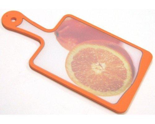 Кухонная доска с ручкой Microban FLUTTO 35*18см Оранжевый апельсин