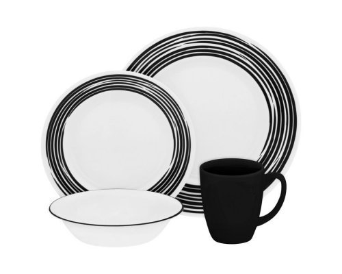 Набор посуды столовый сервиз Corelle Brushed Black на 4 персоны 16 предметов