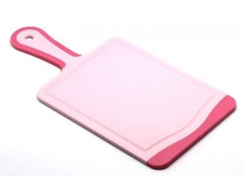 Кухонная доска с ручкой Microban FLUTTO 35*18см Розовая