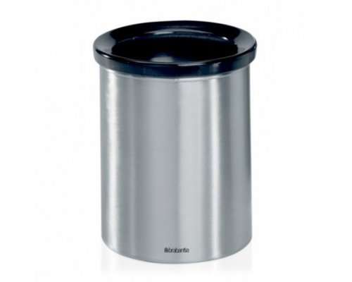 Настольный контейнер для мусора Brabantia с черным пластиковым кольцом, Стальной матовый