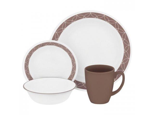 Набор посуды столовый сервиз Corelle Sand Sketch на 4 персоны 16 предметов