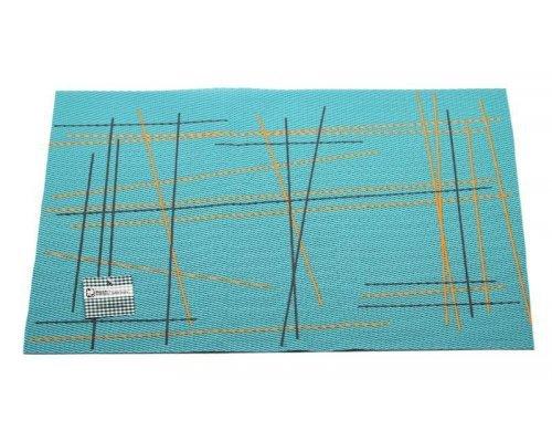 Подставка под горячее Hans & Gretchen полимер 30*40см голубая штрихи