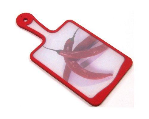 Кухонная доска с ручкой Microban FLUTTO 35*18см Красная чили