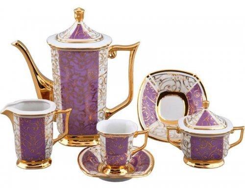 Сервиз мокко кофейный Rudolf Kampf Ампир 2336k на 6 персон 15 предметов в подарочном коробе