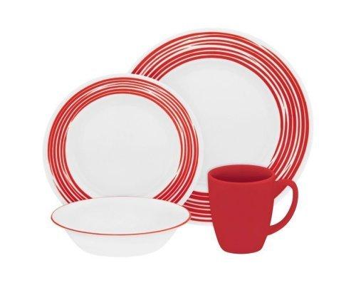 Набор посуды столовый сервиз Corelle Brushed Red на 4 персоны 16 предметов