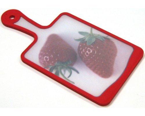 Кухонная доска с ручкой Microban FLUTTO 35*18см Красная клубника