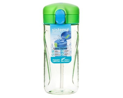 Бутылка для воды с трубочкой Sistema тритан 520мл