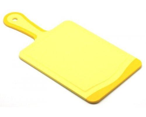 Кухонная доска с ручкой Microban FLUTTO 35*18см Желтая