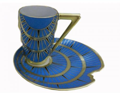 Чашка с блюдцем Rudolf Kampf Манхэттен 0,1л. синий с позолотой в подарочном коробе