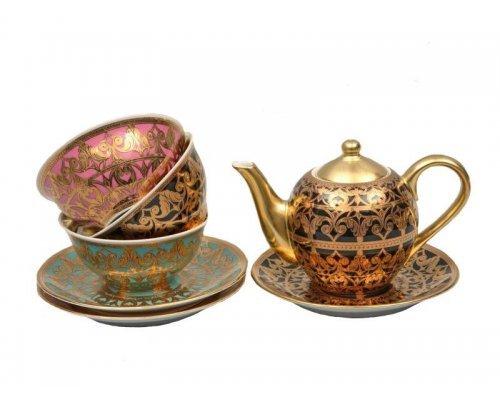 Подарочный набор чайный Тет-а-тет Rudolf Kampf Александрия 2280 на 3 персоны 7 предметов в подарочном коробе 0.35 л