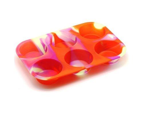 Форма для выпечки кексов Маффин Aatlantis Silicon Оранжевый с белым